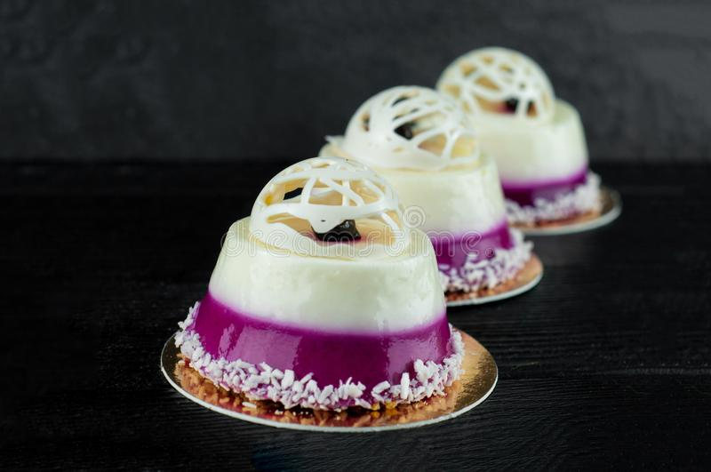 Sweet desserts with blueberry stock image