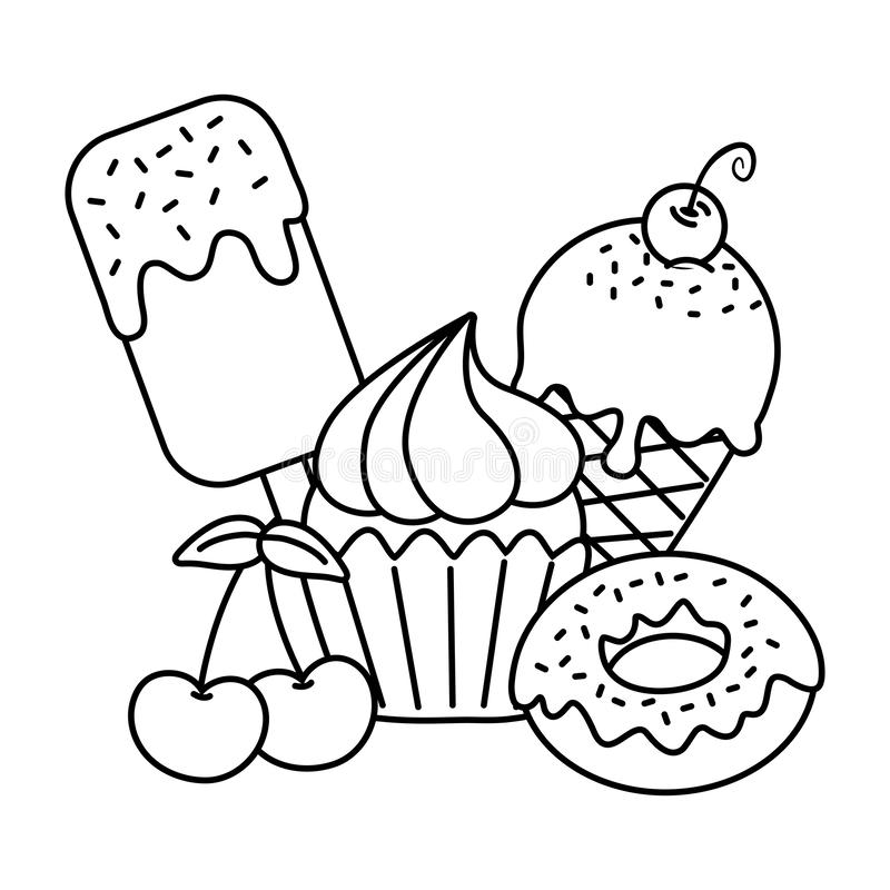 Sweet desserts icon black and white. Sweet desserts ice cream ice lolly donut muffin cherry icon cartoon black and white vector illustration graphic design royalty free illustration
