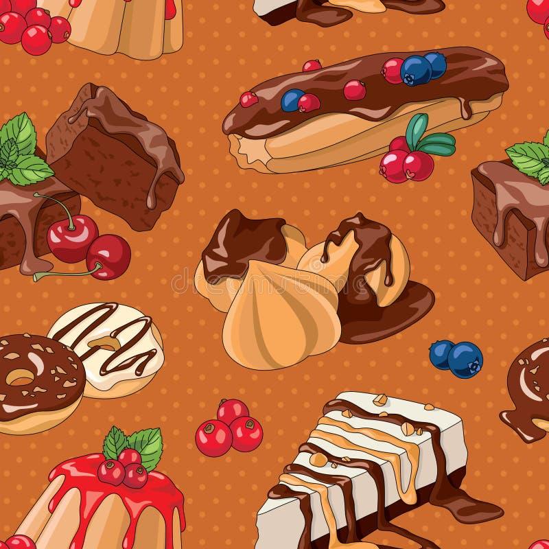 Sweet desserts seamless pattern vector illustration