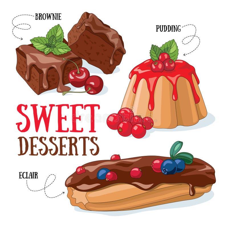 Sweet desserts royalty free illustration