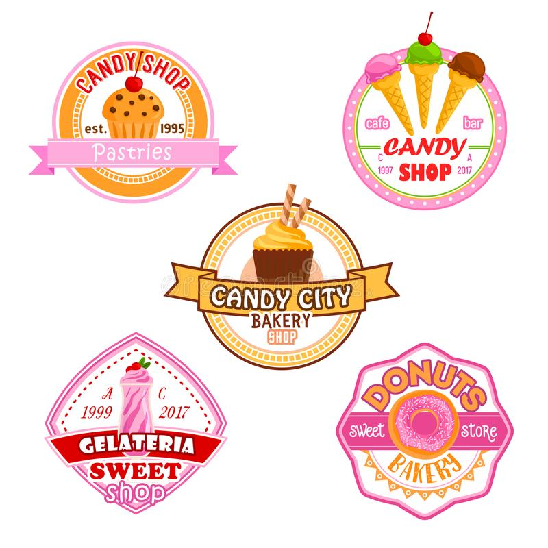 Sweet dessets vector icons for candy shop. Candy shop or patisserie desserts icons of cakes, ice cream, berry and fruit cupcake, chocolate biscuit or pie and vector illustration