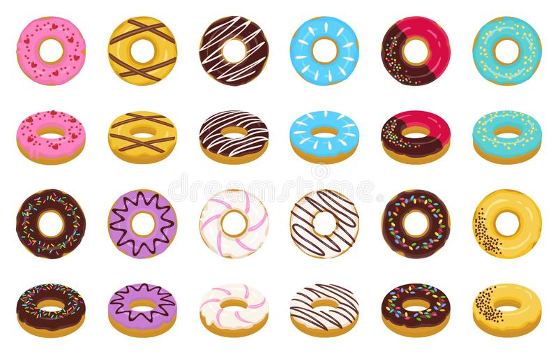Sweet donut cartoon vector set icon. Isolated icon chocolate and cream doughnut.Vector illustration donut of sprinkles royalty free illustration
