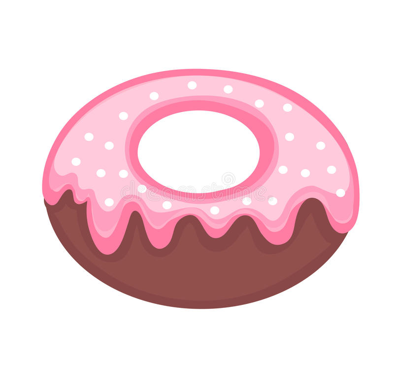 Sweet donut, flat cartoon style. Glazed with powder. Isolated on white background. Vector illustration, clip art royalty free illustration