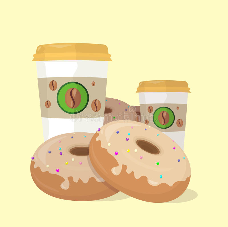 Sweet Donuts Set Design Flat Food stock illustration