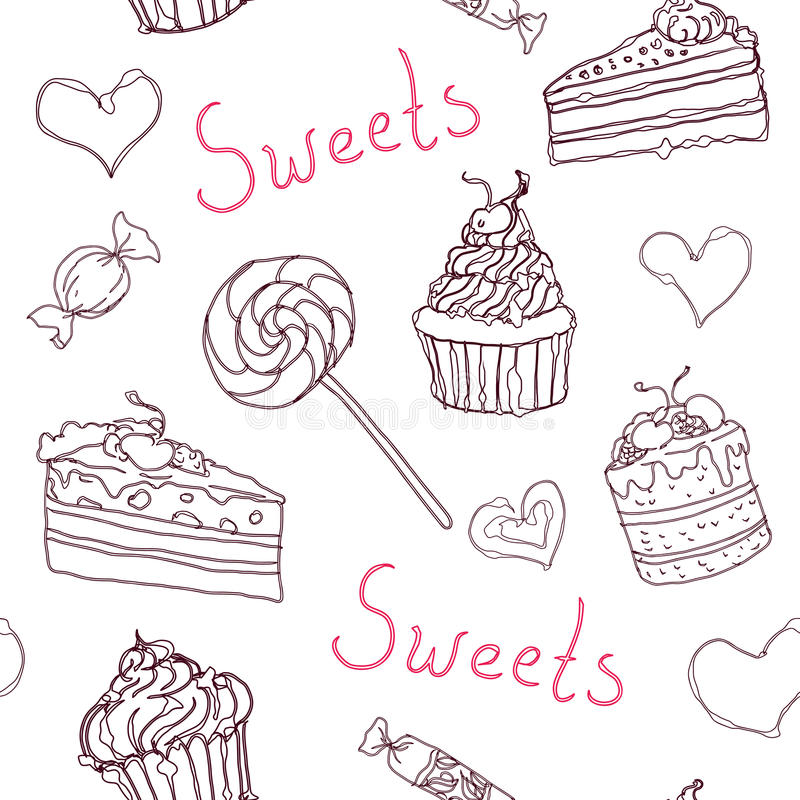 Sweet doodle pattern with cupcakes, cakes, candies and hearts. Vector hand drawn seamless pattern royalty free illustration
