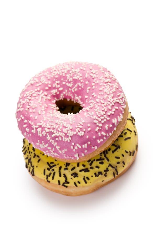 Sweet doughnut on white royalty free stock photo