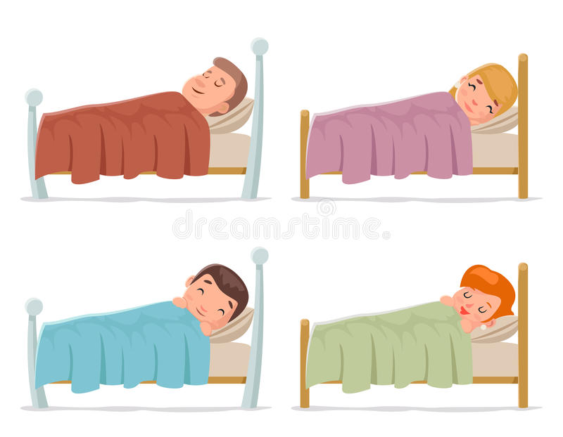 Sweet dream sleep man woman children boy girl bed rest night blanket pillow cartoon isolated set design vector royalty free illustration
