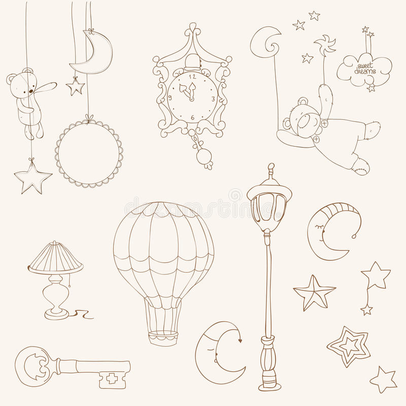 Sweet Dreams - Design Elements For Baby Scrapbook Royalty Free Stock Images