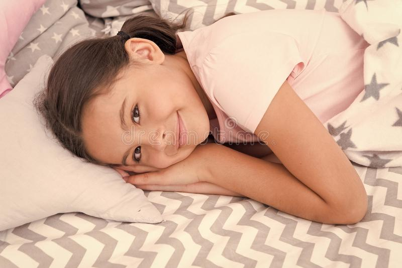 Sweet dreams. Girl happy child lay bed pillow and blanket bedroom. Lullaby concept. Ways to fall asleep faster. Fall. Asleep as fast as possible. Fall asleep stock photos