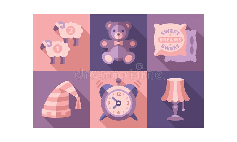 Sweet dreams icons set, sleep time elements, good night vector Illustration. Vector Illustration, web design royalty free illustration