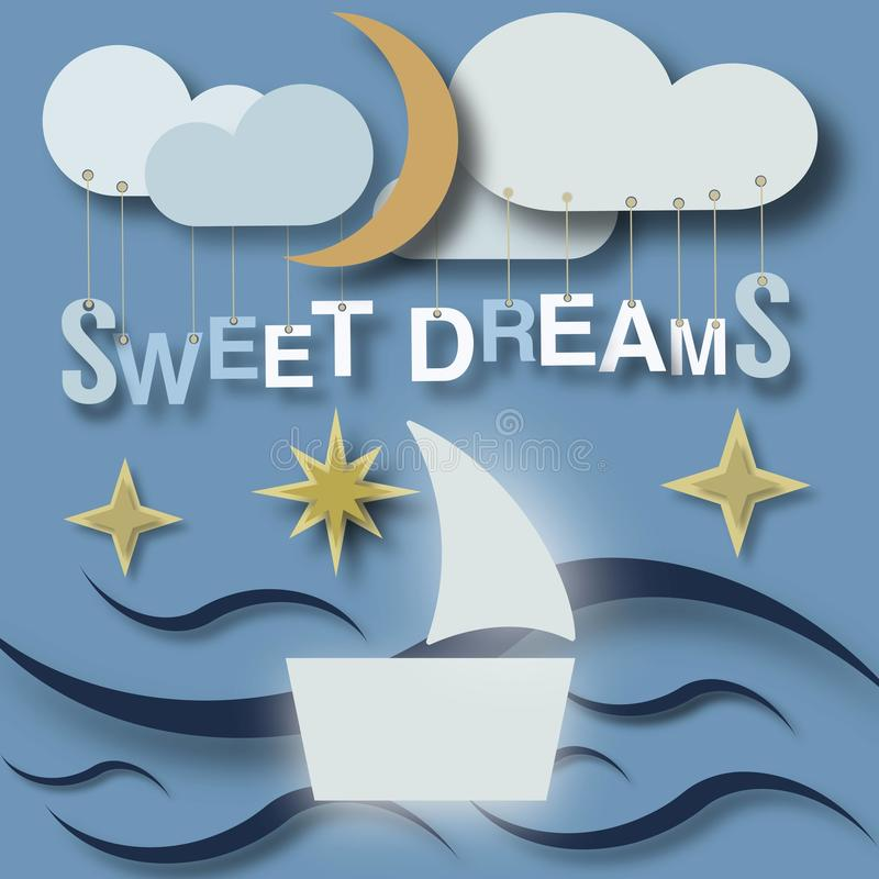 Sweet dreams little babies poster. On this picture you can see very cute sweet dreams concept artwork. You can use this picture for all your needs vector illustration