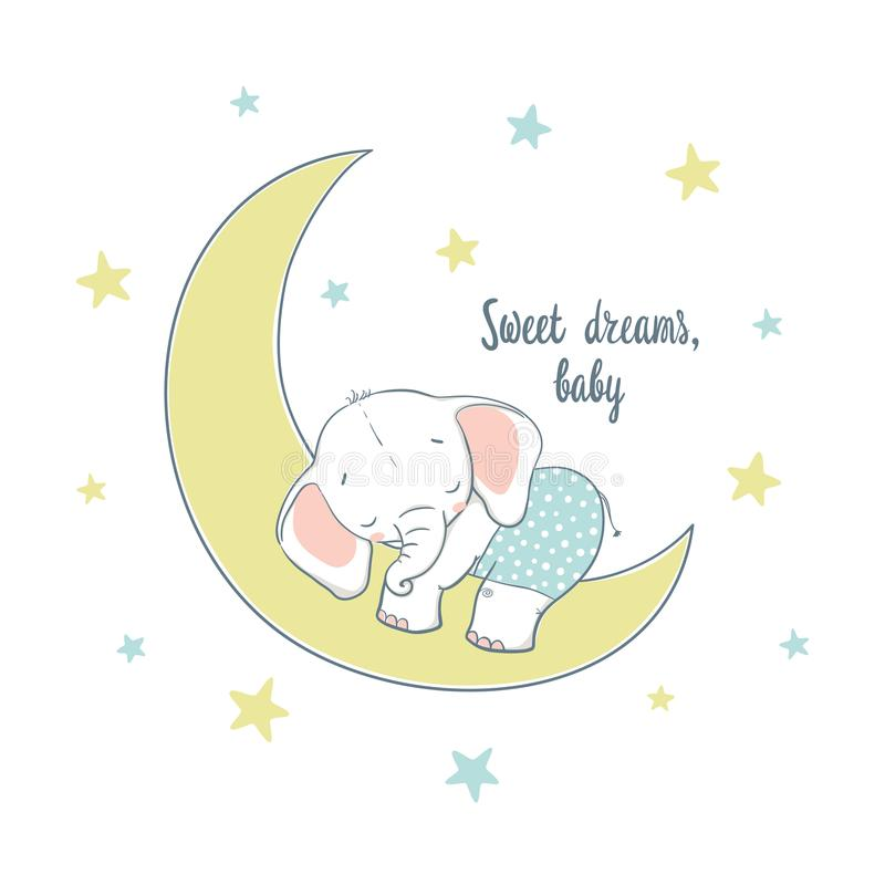 Sweet dreams. A little elephant sleep on the moon stock illustration