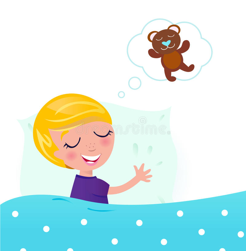 Sweet Dreams: Sleeping Child & Teddy Bear Stock Images