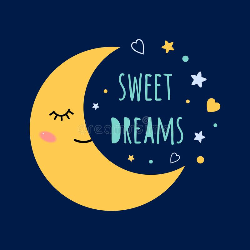 Sweet dreams text on darkness background Sleep moon with eyes on the sky around the stars Print Cute card banner logo stock illustration