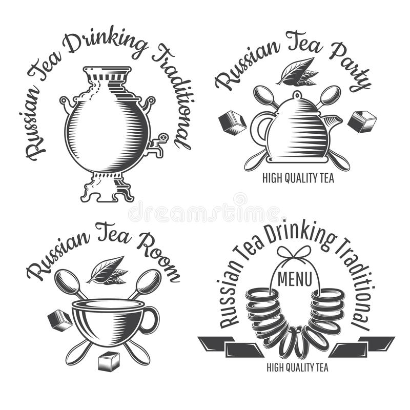 Sweet dry roll bread on the string, samovar, teapot and cup. Set Russiaan tea tradition logo for cafe, teahouse, tea party,. Bakery or business vector illustration