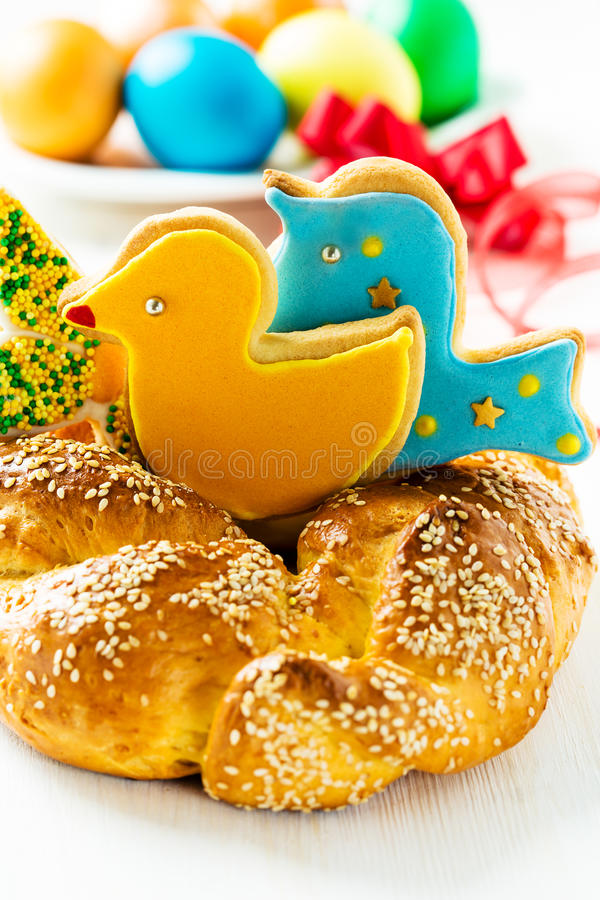 Sweet Easter bread. On Easter background. Happy Easter, white background royalty free stock photos