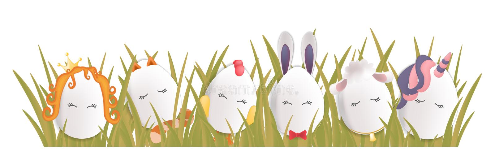 Sweet easter egg characters in the grass. Funny Easter eggs chick rabbit cat and others. Happy easter vector set vector illustration