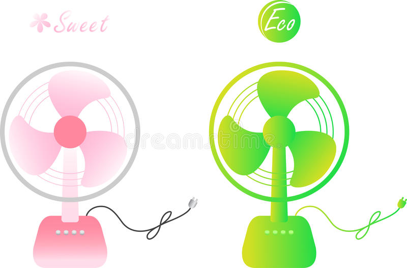 Sweet & Eco electric fan. Sweet pink & eco green colored electric fan for hot summer stock illustration
