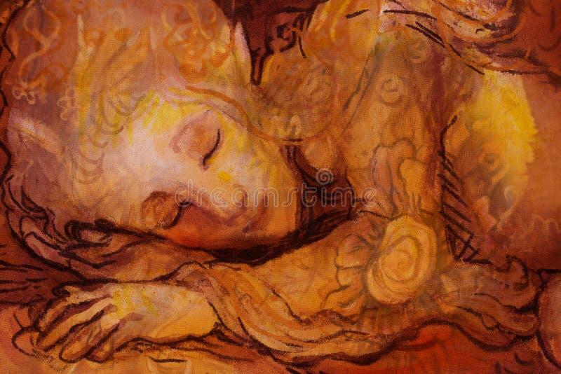 Sweet elven dreams, little sleeping fairy, handpainted and computer collage. Sweet elven dreams - little sleeping fairy, hand pinted and computer collage vector illustration