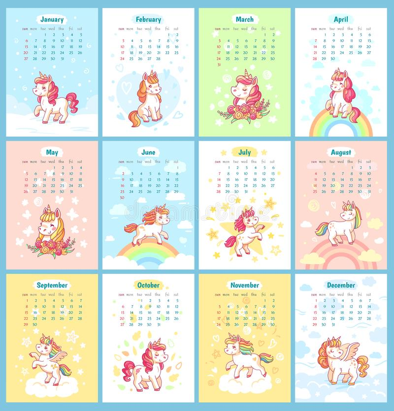 Sweet cute magic unicorn 2019 calendar for kids. Fairy unicorns with rainbow cartoon vector template for calendars royalty free illustration