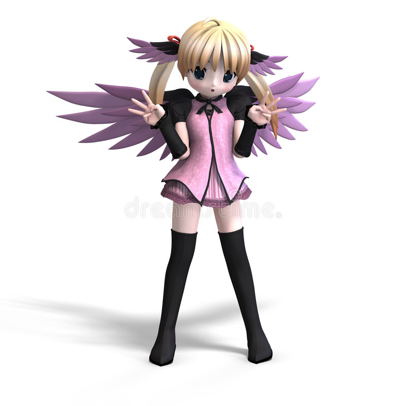 Sweet fantasy angel with wings anf pigtail.