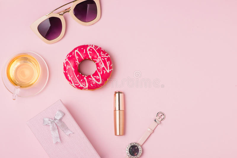 Sweet fashion lady accessories set. Top view. royalty free stock photos