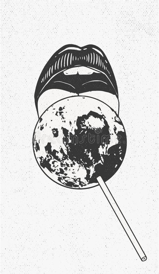 Sweet female lips lick the planet in the form lollipop vector illustration over white background. Sweet female lips lick the planet in the form lollipop royalty free illustration