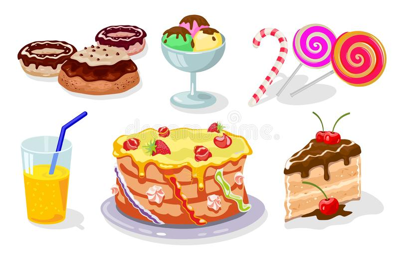 Sweet festive kid s table with gateau, donuts, cake, ice cream, candy cane, lollipop, juice. Sweet festive table with gateau, donuts, cake, ice cream, candy vector illustration