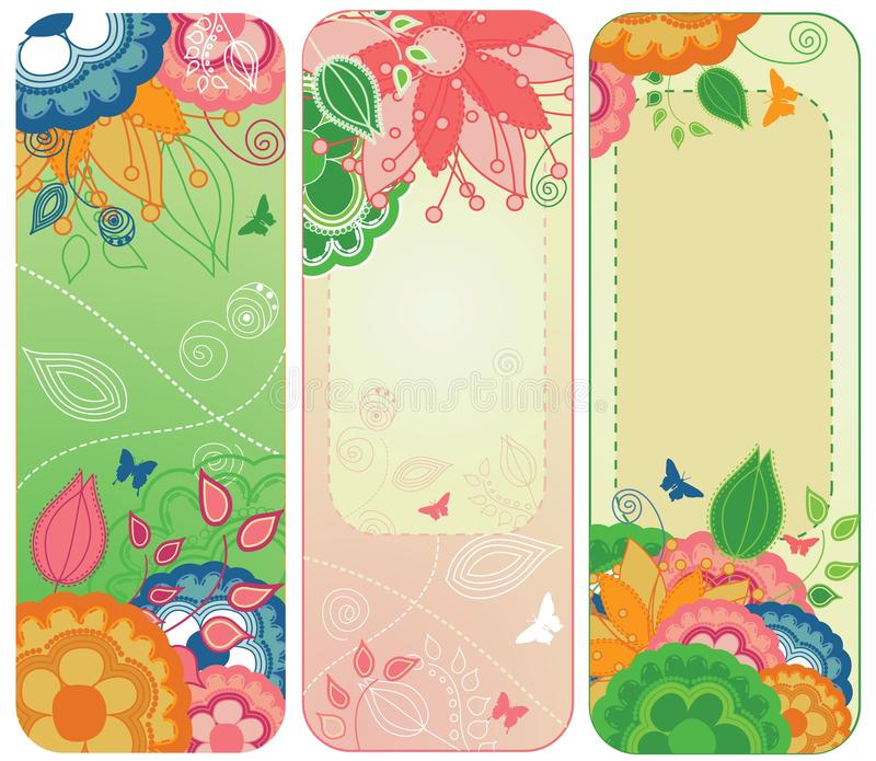 Sweet Floral Banners or Bookmarks stock photography