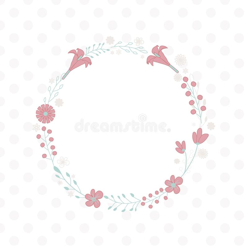 Sweet flowers wreath - round frame. Usable for different purposes vector illustration