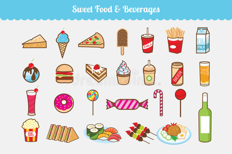 Sweet Food and Beverages Vector Set royalty free illustration