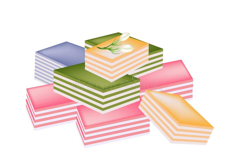 Thai Layer Sweet Cake on White Background stock illustration