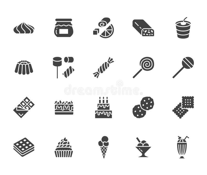 Sweet food flat glyph icons set. Pastry vector illustrations lollipop, chocolate bar, milkshake, cookie, birthday cake stock illustration