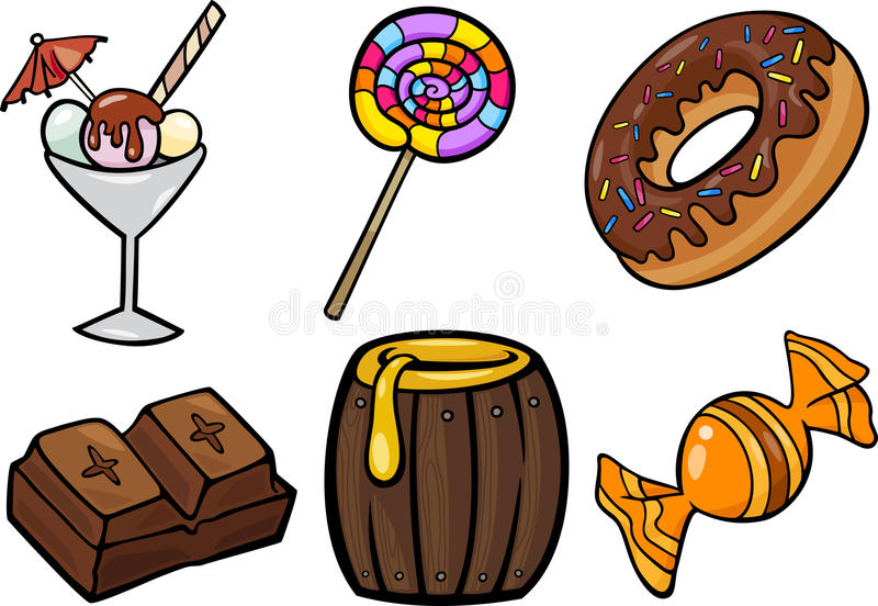 Sweet food objects cartoon illustration set stock illustration