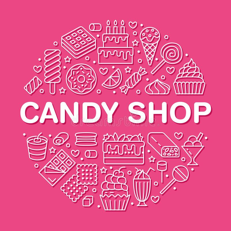 Sweet food round poster with flat line icons. Pastry vector illustrations - lollipop, chocolate bar, milkshake, cookie. Birthday cake, candy shop. Cute circle royalty free illustration