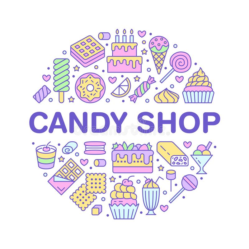 Sweet food round poster with flat line icons. Pastry vector illustrations - lollipop, chocolate bar, milkshake, cookie. Birthday cake, candy shop. Cute circle stock illustration