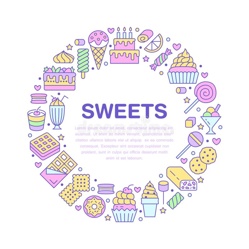 Sweet food round poster with flat line icons. Pastry vector illustrations - lollipop, chocolate bar, milkshake, cookie. Birthday cake, donut, candy shop. Cute stock illustration