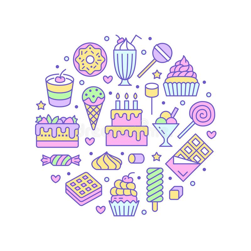 Sweet food round poster with flat line icons. Pastry vector illustrations - lollipop, chocolate bar, milkshake, ice vector illustration