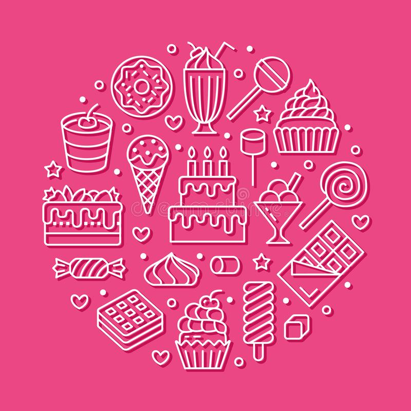 Sweet food round poster with flat line icons. Pastry vector illustrations - lollipop, chocolate bar, milkshake, ice. Cream, birthday cake, donut, candy shop stock illustration