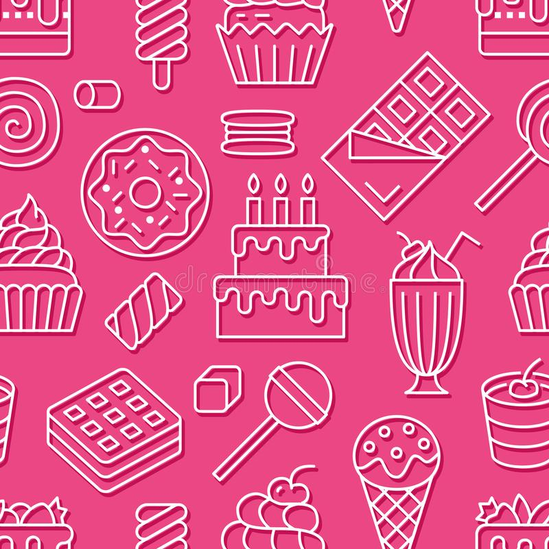 Sweet food seamless pattern with flat line icons. Pastry vector illustrations - lollipop, chocolate bar, milkshake. Cookie, birthday cake, candy shop. Cute vector illustration