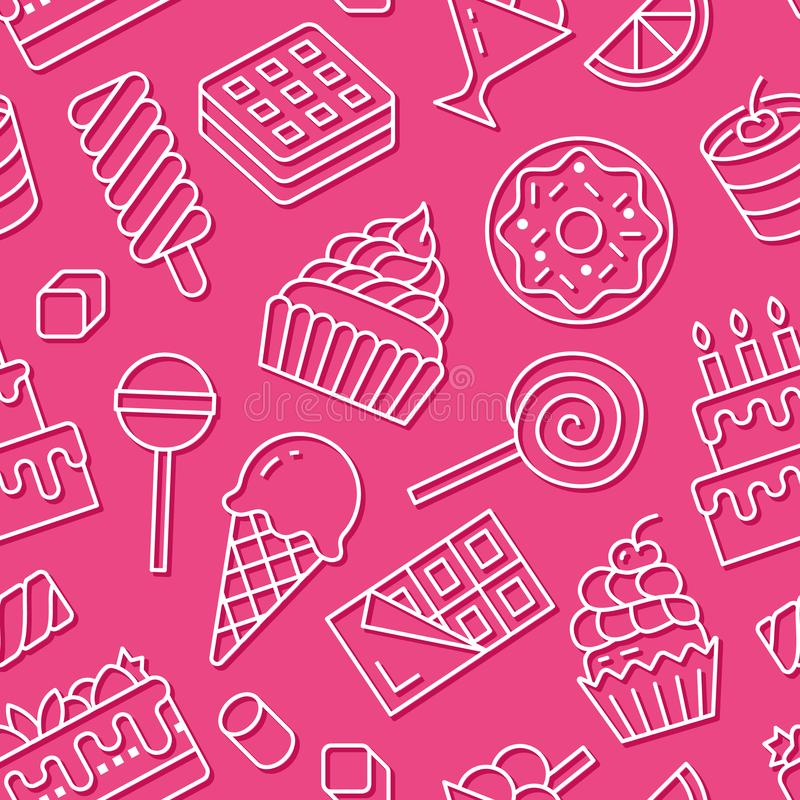 Sweet food seamless pattern with flat line icons. Pastry vector illustrations - lollipop, chocolate bar, milkshake. Cookie, birthday cake, candy shop. Cute royalty free illustration