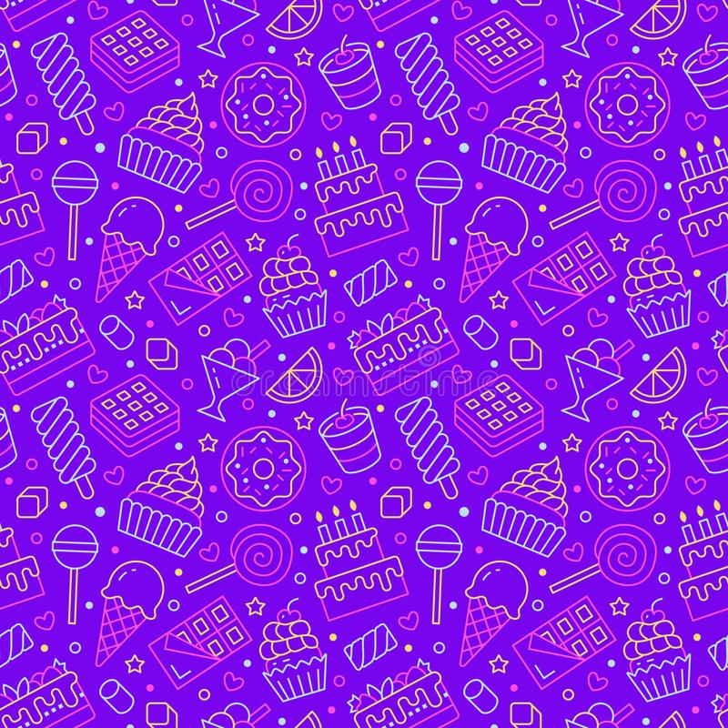 Sweet food seamless pattern with flat line icons. Pastry vector illustrations - lollipop, chocolate bar, milkshake vector illustration