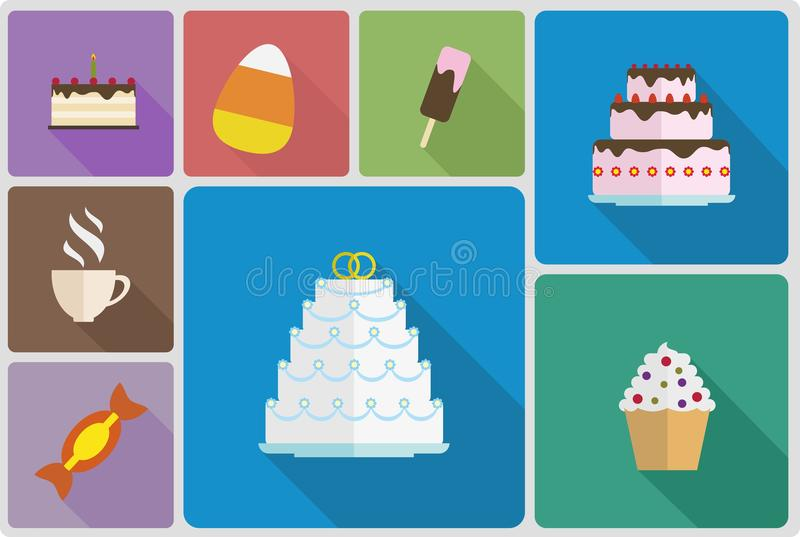 Sweet food set icons flat style stock images