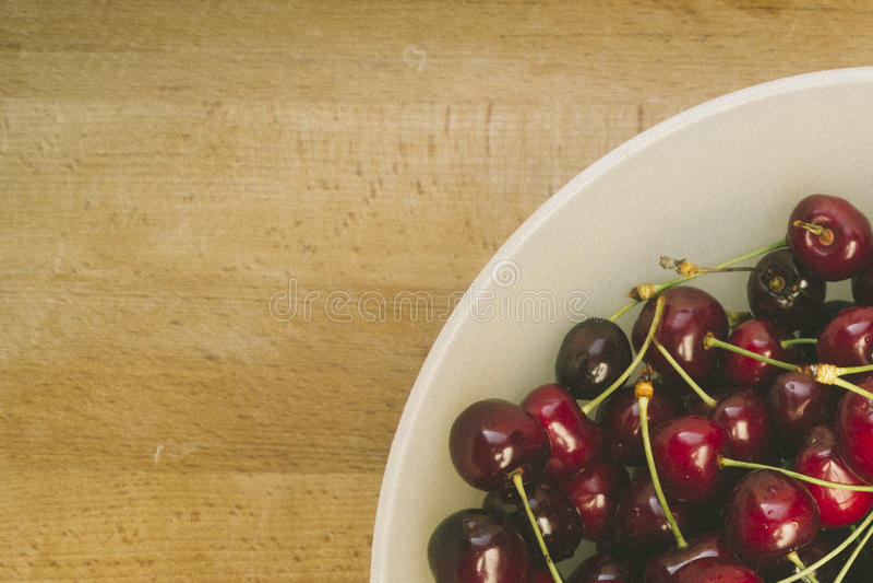 Sweet fresh cherries in film style stock photo