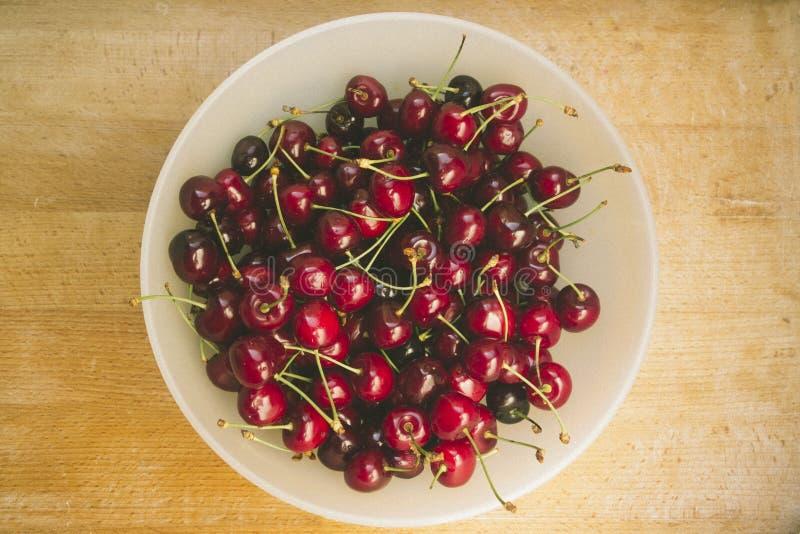 Sweet fresh cherries in film style stock image