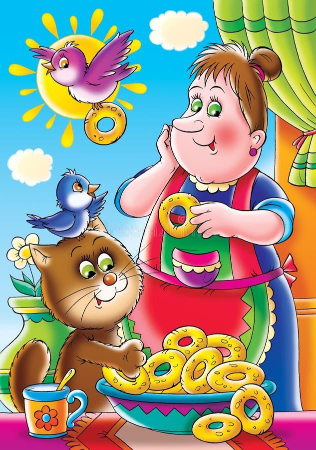 Sweet fritters. Children's book illustration for yours design, postcard, album, cover, scrapbook, etc