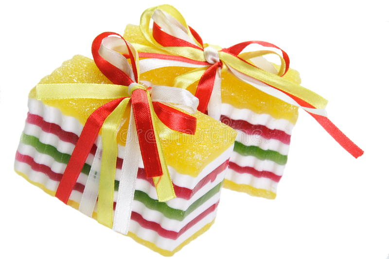 Sweet Fruit Jelly with Ribbons stock photos