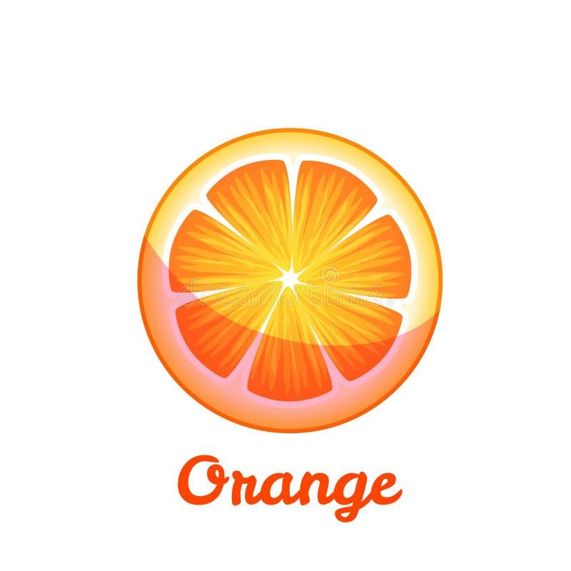Sweet fruit orange on transparent background. Vector flat illustration royalty free stock photo
