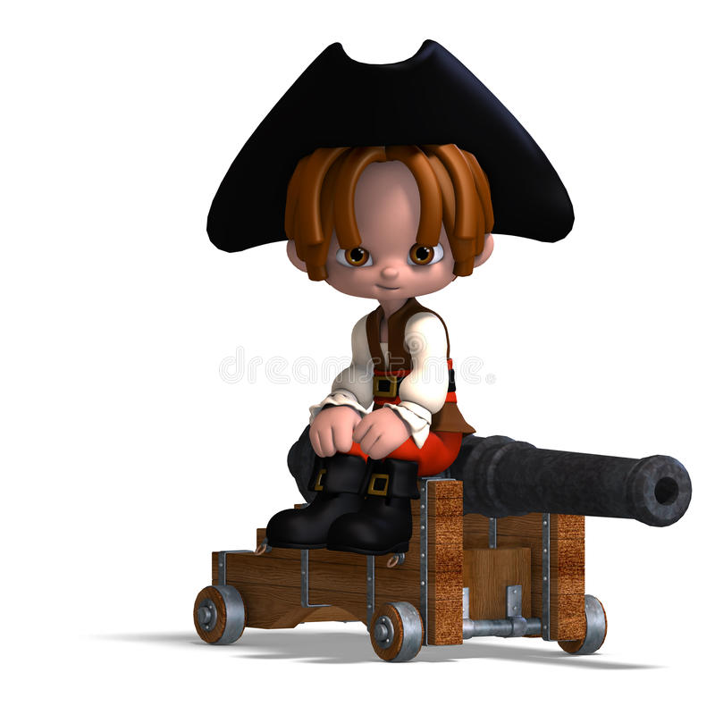 Sweet and funny cartoon pirate with hat. 3D royalty free illustration