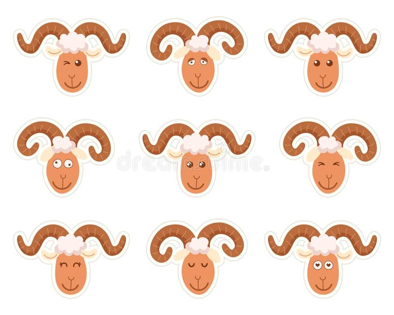 Sweet funny cartoon sheep kids character. Vector illustration on a white background. Stickers vector illustration